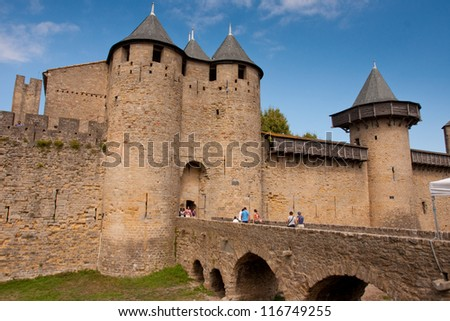 Castle of Carcassonne, France. - stock photo