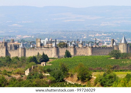 Castle of Carcassonne in Languedoc-Roussillon, France - stock photo