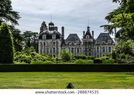 Castle of Cheverny (Chateau de Cheverny), is located between Blois and Chambord and a few kilometers below Cheverny village, and is one of best preserved castles in all of France. Loire Valley, France - stock photo