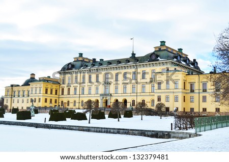 Castle of Drottningholm in Stockholm - Sweden - stock photo