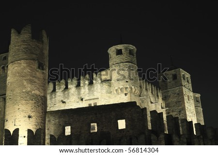 castle of fenix aosta italy - stock photo