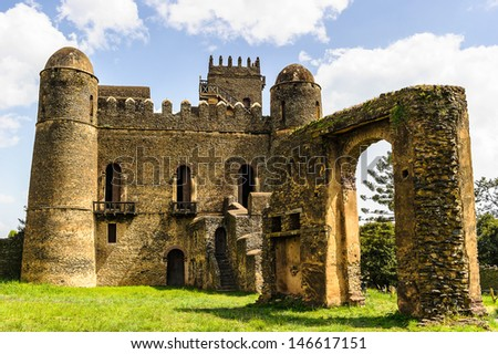 Castle of Gondar, Ethiopia. The origins of this castle can be found in the old tradition of the Ethiopian Emperors - stock photo