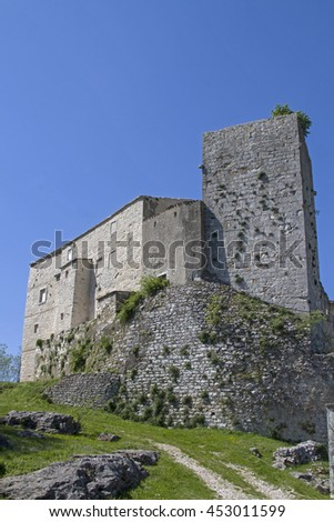 Castle of Kr�¡an, a small idyllic village situated inland of the Istrian peninsula - stock photo