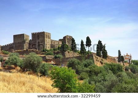 Castle of Monsaraz  village. - stock photo