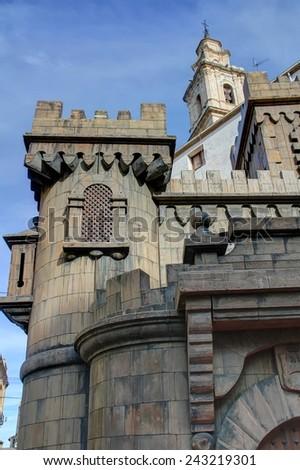 Castle of Moros y Cristianos festive tradition in Bocairente village - stock photo
