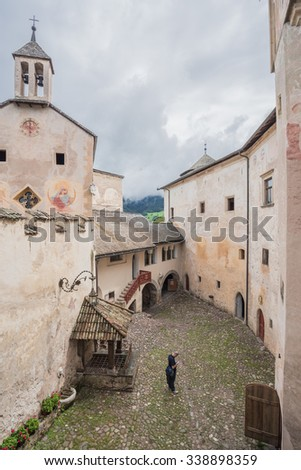 Castle of Presule, a medieval, gothic style renovated castle, built on a high plateau below Sciliar mountain, in the heart of the Dolomites, near the towns Fie, Vols and Schlern in South Tyrol, Italy