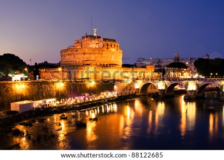 Castle of Saint Angelo in Rome at night - stock photo