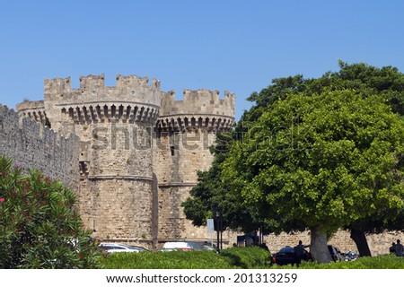 Castle of Saint John at Rhodes island in Greece - stock photo