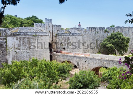 Castle of saint John knights at Rhodes island in Greece. The D'Amboise gate.  - stock photo