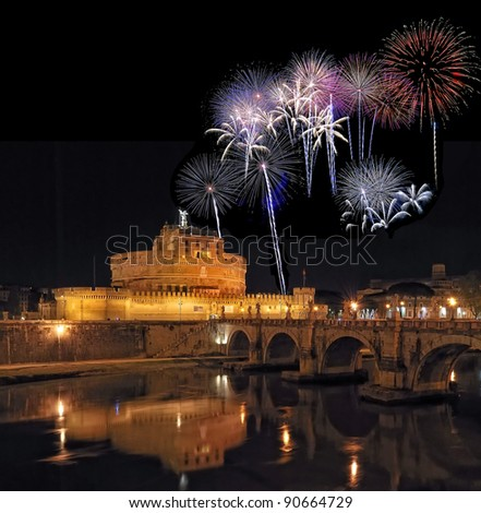 Castle of San Angelo with Fireworks. - stock photo