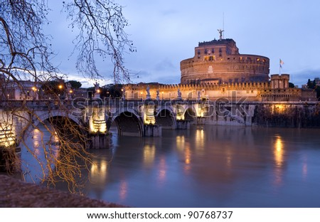 Castle of Sant Angelo at night - stock photo
