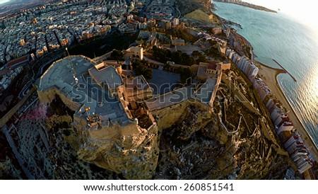 Castle of Santa Barbara, Aerial View, Alicante (Spain) - stock photo