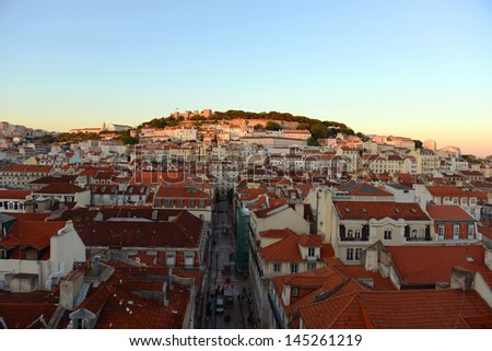 Castle of Sao Jorge (Portuguese: Castelo de S�£o Jorge) and Alfama district at sunset in Lisbon, Portugal - stock photo