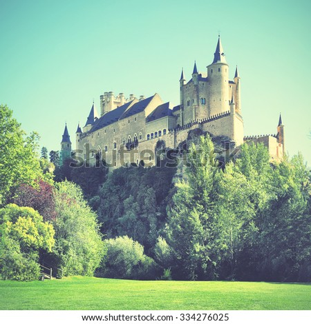 Castle of Segovia (Alcazar), Spain. Instagram style filtered image - stock photo