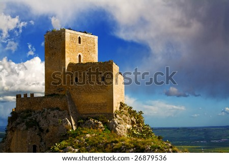 Castle of Serravalle very old medieval castle in Mineo country - Catania - Sicily - Italy