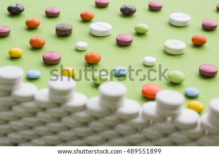 Castle of tablets, attack the walls of colored pills. Pain Attack
