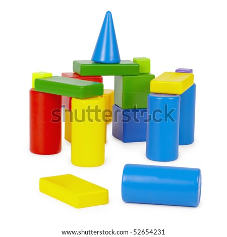 Castle of toy bricks on a white background - stock photo
