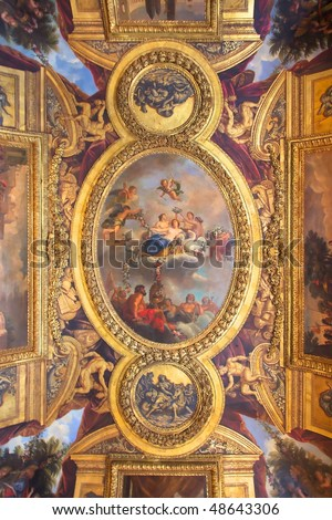 Castle of Versailles, France - Ceiling - stock photo