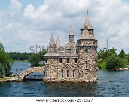 castle on a lake - stock photo