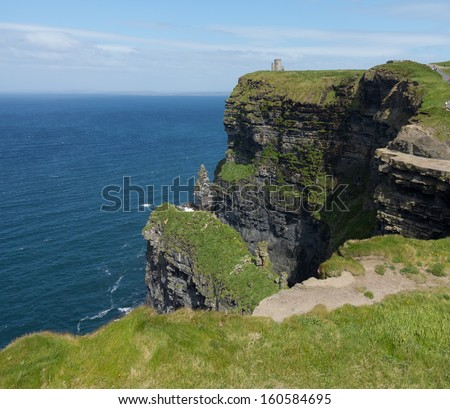 Castle on headland at Cliffs of Moher in South Western Ireland in Burren Region of County Clare - stock photo