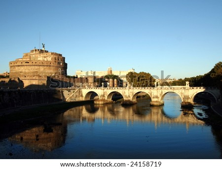 Castle on the Tiber in Rome,Italy - stock photo