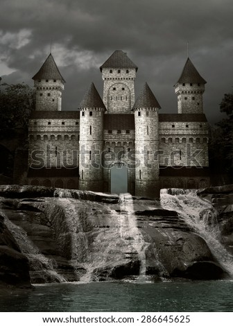 Castle over the waterfalls - stock photo
