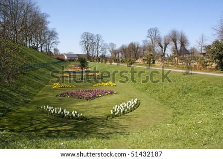 Castle Park in Colchester (England) in early spring. - stock photo