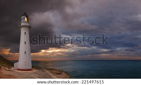 Castle Point Lighthouse, sunrise, Wairarapa New Zealand - stock photo