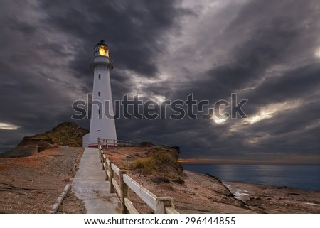 Castle Point Lighthouse, sunrise, Wairarapa, New Zealand - stock photo