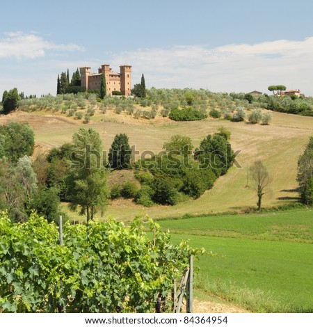 Castle Quattro Torri in beautiful summer  tuscan landscape, Italy - stock photo