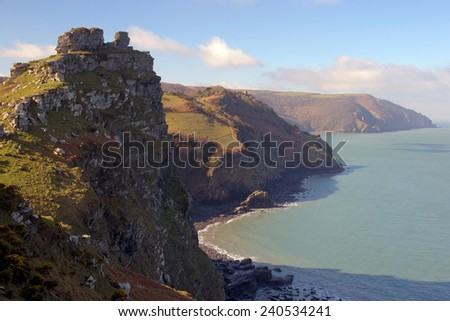 Castle Rock and the coast near Lynton, north Devon, England, UK. - stock photo