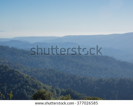 Castle Rock State Park is a state park located along the crest of the Santa Cruz Mountains. It embraces coast redwood, Douglas fir, and madrone forest - stock photo