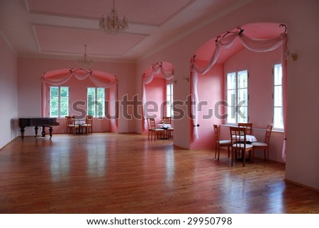 Castle room with pink alcoves - stock photo