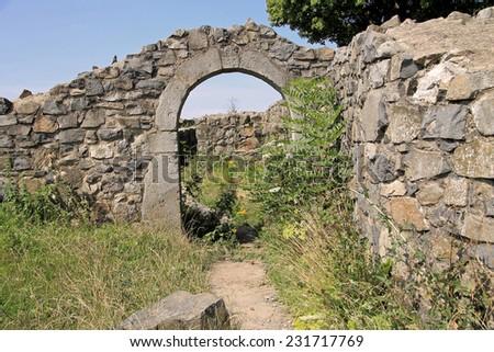 castle ruin, Loewenburg, germany - stock photo
