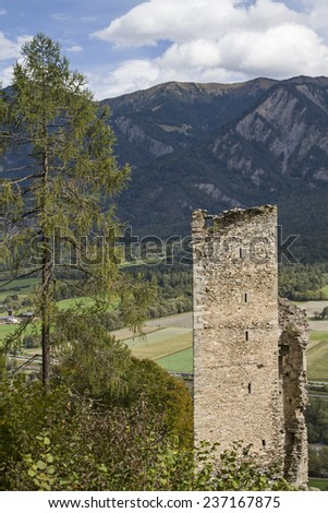 Castle ruins Haldenstein north of Chur in the canton Grisons - stock photo