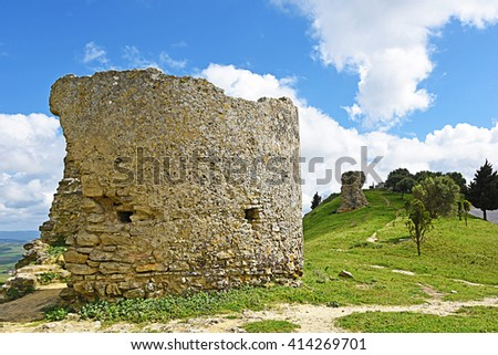Castle ruins of Medina Sidonia, Cadiz. - stock photo