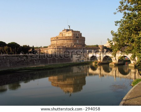 Castle sant'angelo on the Tiber river in Rome Italy, - stock photo