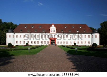 Castle Schoenborn in Heusenstamm Hessen Germany. The first buildings of the Castle Heusenstamm or also called Castle Schoenborn were built in the 15th century.