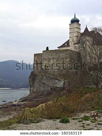 Castle Schoenbuehel is built on rock approximately 40 meters above the level of the river Danube  - stock photo