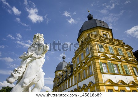 castle,seehof,bavaria,bamberg,orange,historical,architecture,facade,parc,baroque,baroque style,germany,old,monument,monument conservation,rococo,tower,romantic,hunting lodge - stock photo