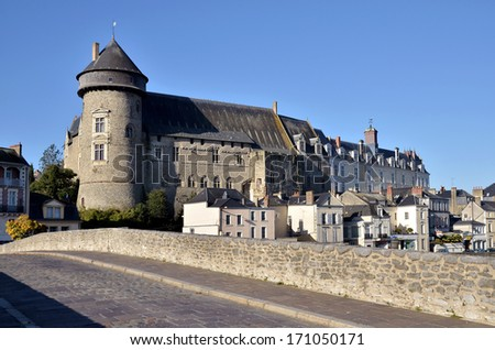 Castle seen of the old bridge Pont-Vieux in french, at Laval, commune in the Mayenne department in north-western France - stock photo