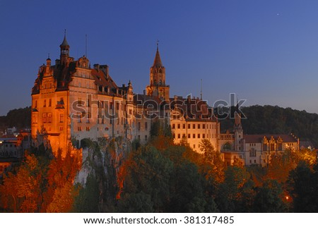 castle Sigmaringen at sunset in Germany