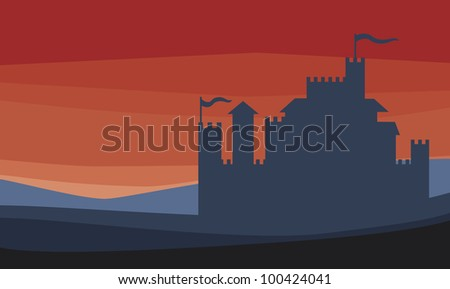 Castle silhouette - stock photo