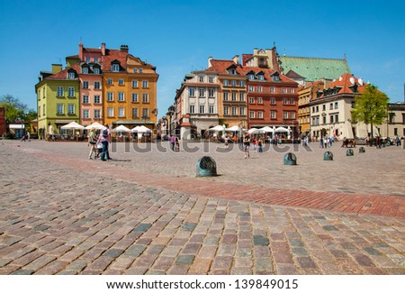 Castle Square in Warsaw, Poland. - stock photo