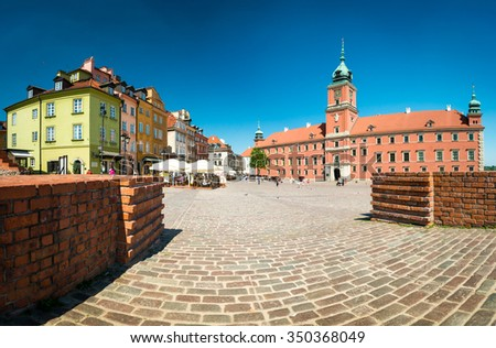 Castle square in Warsaw, Poland, Europe. Famous and interesting place for tourism. Old Town in Warsaw, Poland. UNESCO World Heritage Site. - stock photo