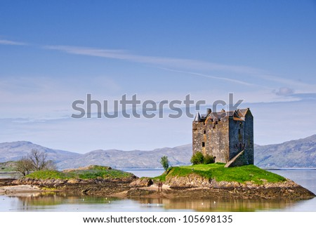 Castle Stakler in Scotlands western highlands. - stock photo