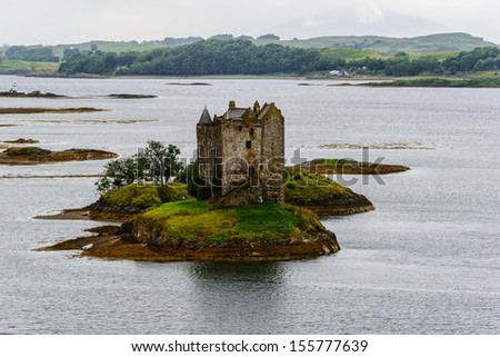 Castle Stalker, 14th century tower house, Argyll, Scotland - stock photo