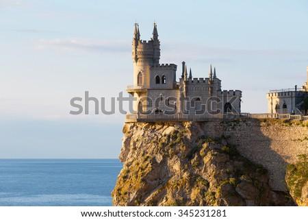 Castle Swallow's nest on a cliff above the Black Sea, Crimea, Russia - stock photo