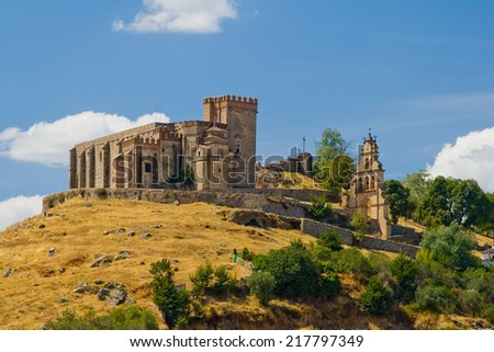 Castle that raise Aracena's city, placed in the mountain range of the same name. - stock photo