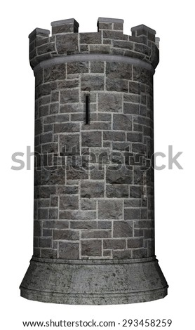 Castle tower isolated in white background - 3D render - stock photo